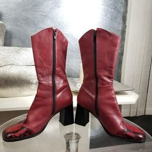 BAKERS CLINT SNAKE EMBOSSED LEATHER BOOTS SZ 8.5M